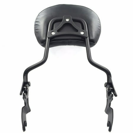 Harley Davidson Flhx - HTT adjustable Flat Black Backrest Sissy Bar w/ Leather pad w/ Hollow-out Mounting Plate For ALL YEAR Harley Davidson Touring FLHR- Road King FLHX- Street Glide (NEED DOCKING,SOLD SEPARATELY)