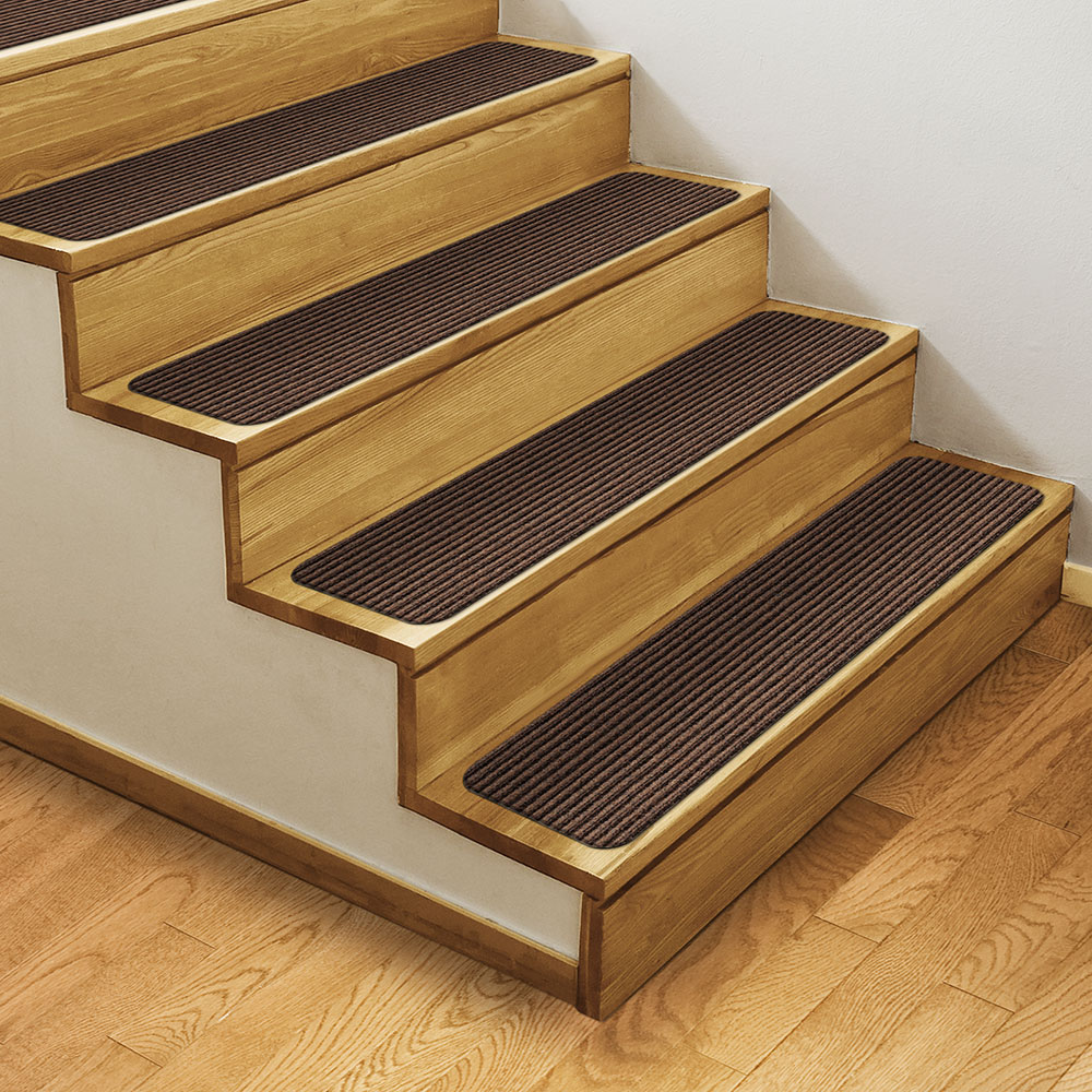 Set of 12 Skid-Resistant Double-Ribbed Carpet Stair Treads – Bittersweet Brown – 8 In. X 23.5 In. – Several other Sizes to Choose From