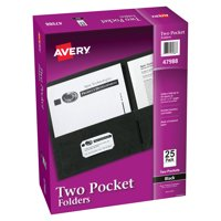 Two Pocket Folders, Holds up to 40 Sheets, 25 Black Folders (47988)