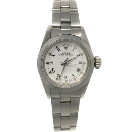 Oyster Perpetual White Roman dial and a Stainless Steel Smooth Bezel (Certified Pre-Owned)