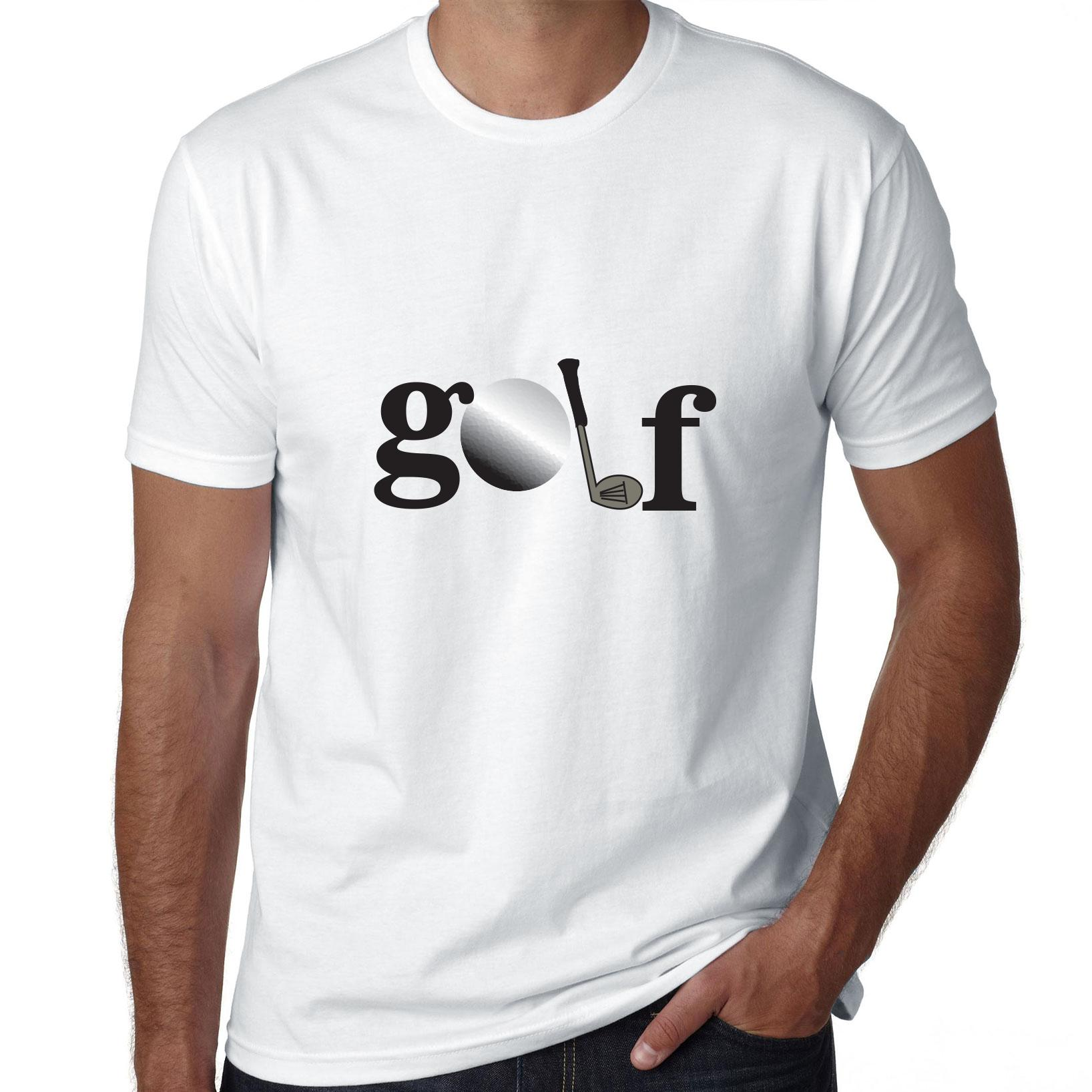 Simple Golf Graphic Tee Ball and Club Men's T-Shirt