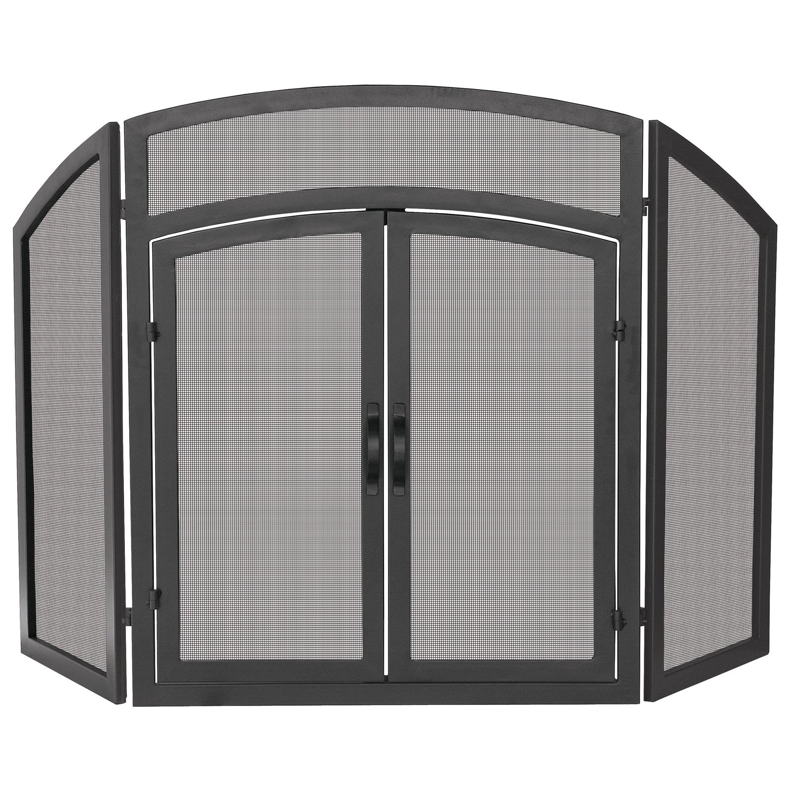Uniflame 3 Panel Black Wrought Iron Arch Top Fireplace Screen With