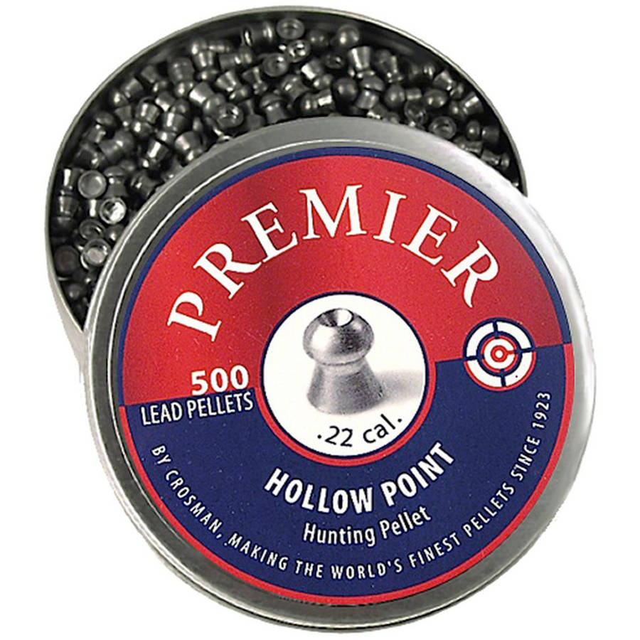 Crosman Premier Hollow Point .22 Caliber 14.3gr Airgun Pellets, 500ct