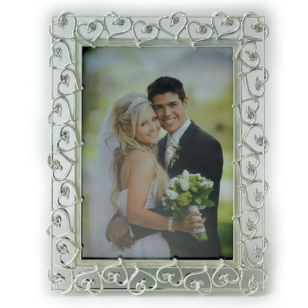 Photo Heart (8x10 Silver Plated Metal Picture Frame - Open Heart Design with Crystals and Ivory Enamel)