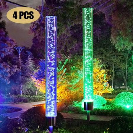 4pcs Garden Solar Lights Outdoor Solar Acrylic Bubble RGB Color Changing Solar Powered for Garden Patio Backyard Pathway Decorations ()