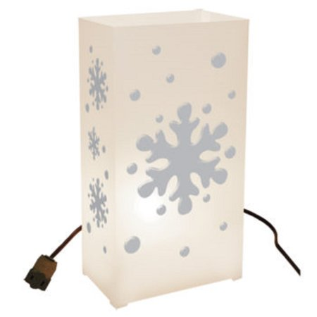Set of 10 Lighted Winter Snowflake Christmas Luminaria Pathway Markers