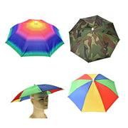 Farfi Adjustable Headband Sun Rain Outdoor Sport Foldable Fishing Umbrella Hat Cap