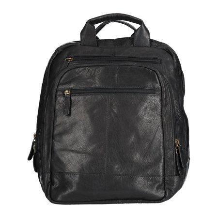 CTM®  Leather Top Zip Backpack with Laptop Sleeve covid 19 (Top Laptop Backpacks coronavirus)