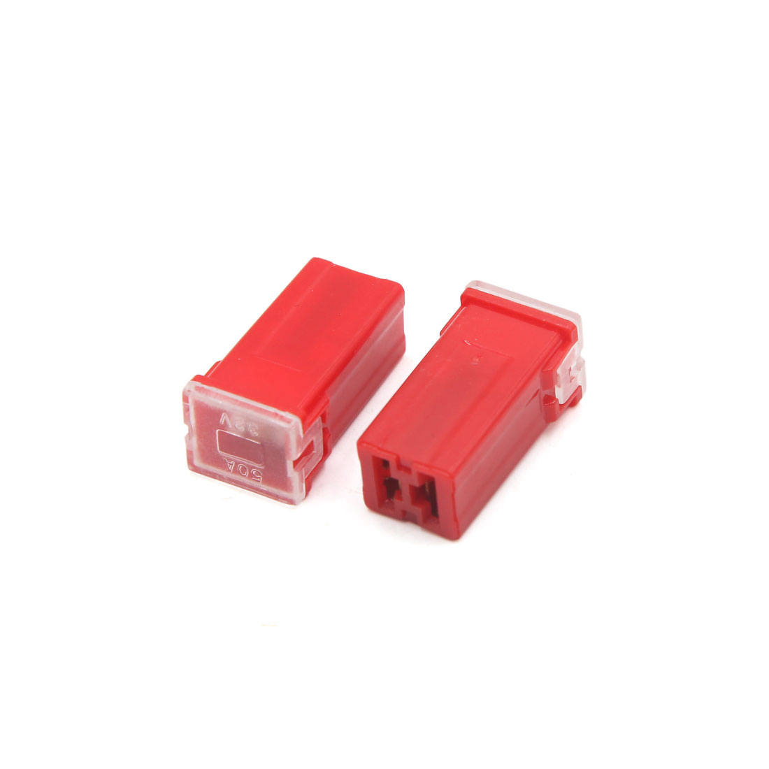 10Pcs 50A 32V Red Plastic Mini Push-in Type Female PAL Cartridge Fuses for Car - image 1 de 3