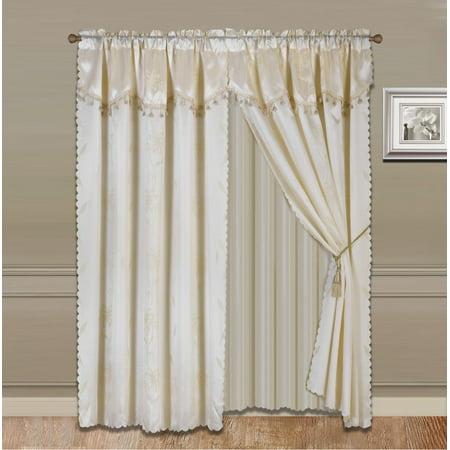 Nada Beige Complete Window Curtain Set 2 Panels Faux Silk