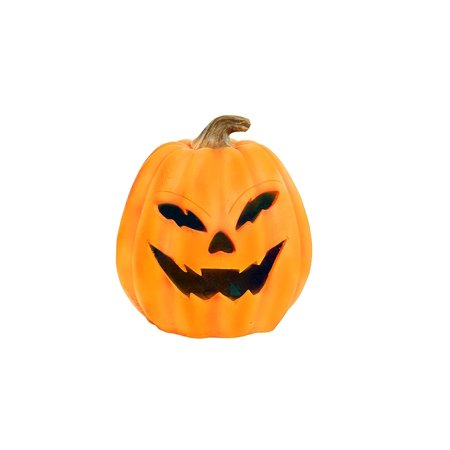 Alpine Motion Activated Pumpkin with Yellow LEDs, 17 Inch Tall