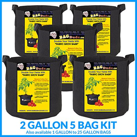 BUBBLEBAGDUDE Grow Bags 5-Pack Breathable Fabric Containers Round Aeration Growing Garden Hydropnic Pot with Sturdy Handles, Color Black (5 Pack) - 2 (Growing Container)