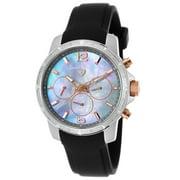 16527Sm-Sr-014 Legasea Diamond Multi-Function Black Silicone Grey Mop Dial Watch