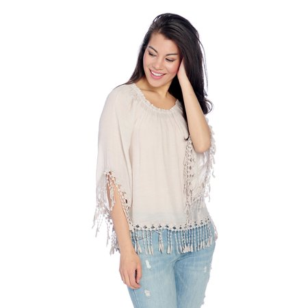 Indigo Thread Co. Women's 3/4 Sleeve Fringe Shirttail Hem Top In Taupe - Small (3/4 Shirttail Tee)