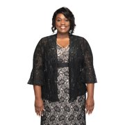 SLEEKTRENDS Plus Size Bell Sleeve Long Sequin Bolero Jacket | Lace Shrug