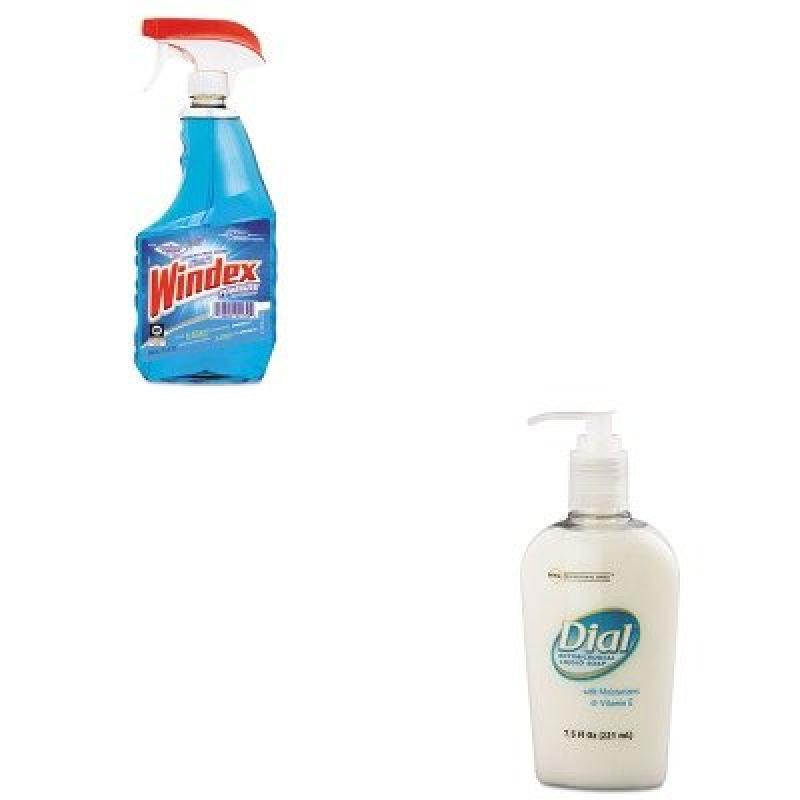 KITDPR84024DRA90135EA - Value Kit - Dial Antimicrobial Soap w/Moisturizers and Vitamin E (DPR84024) and Windex Powerized Glass Cleaner with Ammonia-D (DRA90135EA)