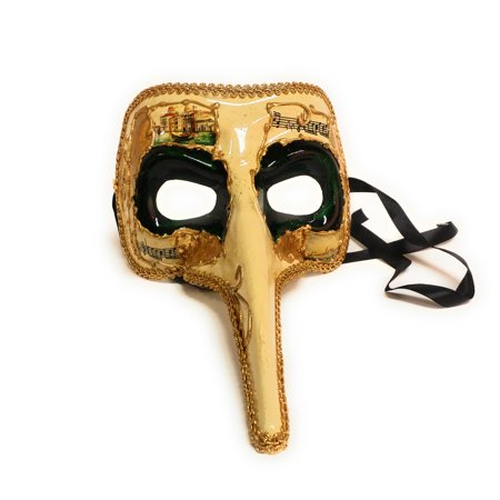 Plague Doctor Music Notes Long Nose Face Venetian Mask, Gold Green, One Size