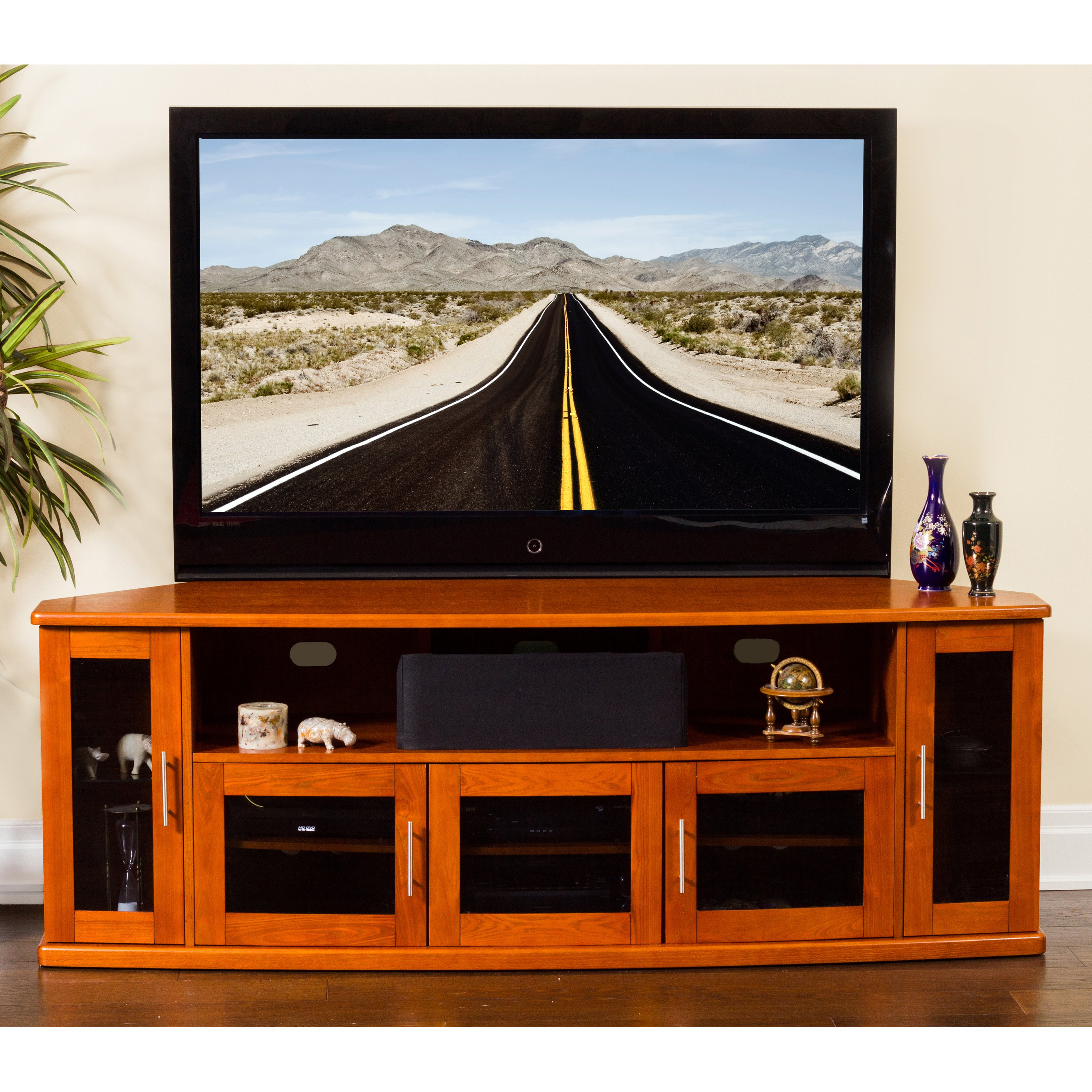 Plateau Newport 80 in. Corner Wood TV Stand - Walnut Finish