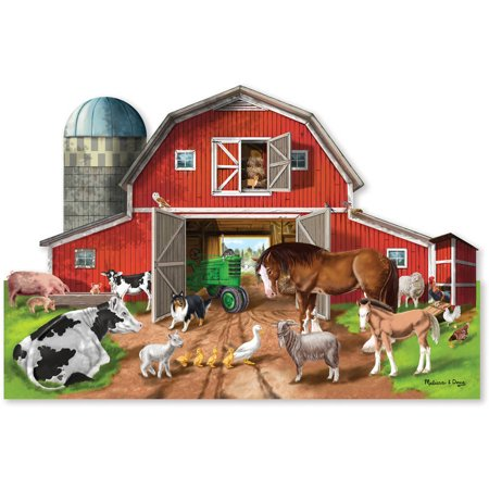 Melissa & Doug Busy Barn Shaped Jumbo Jigsaw Floor Puzzle (32 pcs, 2 x 3 (Doug Pets Floor Puzzle)