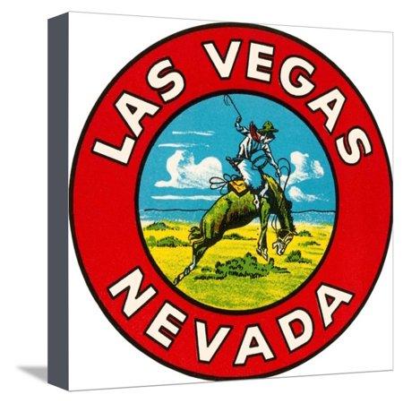 Broncos Canvas - Las Vegas Logo with Bucking Bronco, Nevada Stretched Canvas Print Wall Art