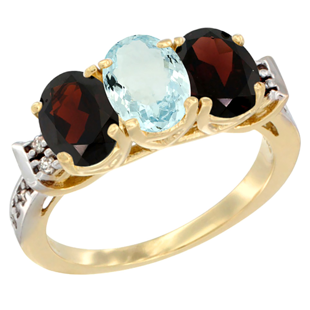 10K Yellow Gold Natural Aquamarine & Garnet Sides Ring 3-Stone Oval 7x5 mm Diamond Accent, sizes 5 10 by WorldJewels