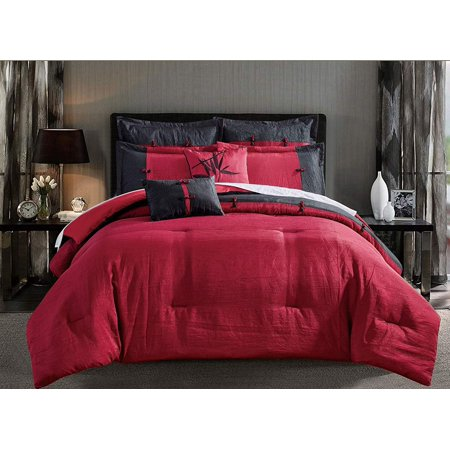 Chezmoi Collection 7-Piece Red Black Oriental Faux Silk Crinkle Comforter Set Faux Silk Comforter