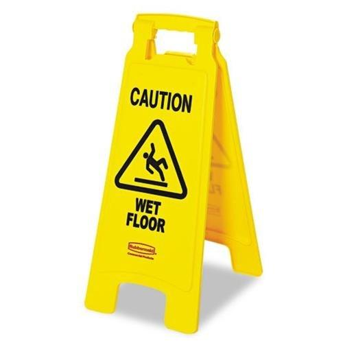 "Rubbermaid Caution Wet Floor Safety Sign - ""wet Floor"" Preprinted - Yellow (611277YW)"