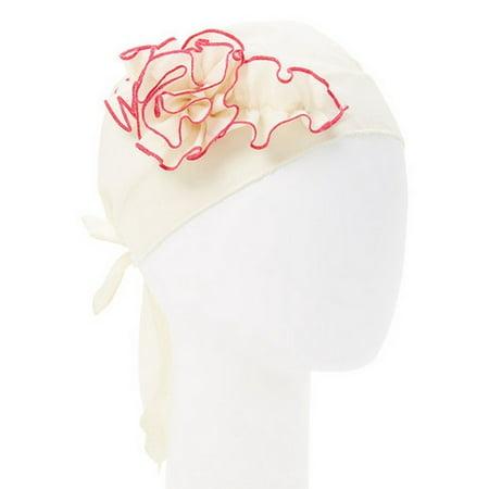 Girls Ivory Fuchsia Rosette Embellished Cotton Bandana Headband