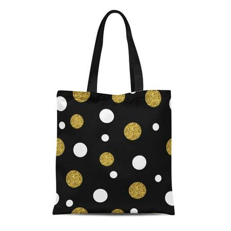 SIDONKU Canvas Tote Bag Yellow Black Festive Gold Dots Polka Small Chaotic Point Reusable Shoulder Grocery Shopping Bags Handbag