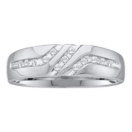 14k Mens Diamond Rings - 14kt White Gold Mens Round Diamond 5mm Wedding Anniversary Band Ring 1/8 Cttw