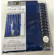DOUBLE SWAG FABRIC SHOWER CURTAIN, VINYL LINER, SHOWER RINGS, DOBBY DOT DESIGN, COBALT NAVY