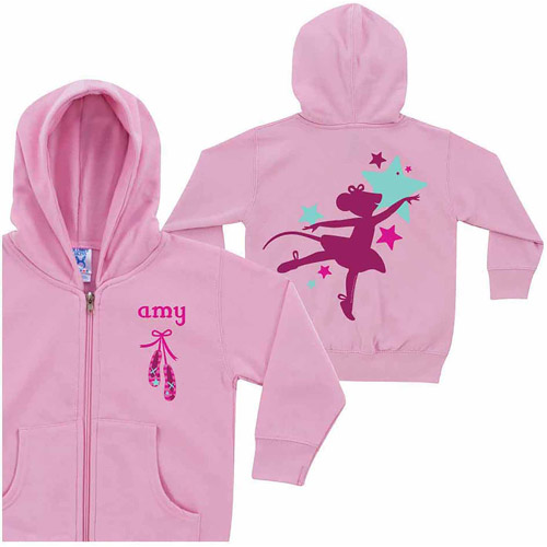 Personalized Angelina Ballerina Silhouette Pink Toddler Zip-Up Hoodie