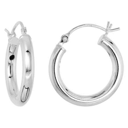 Sterling Silver Tube Hoop Earrings with Post-Snap Closure 3 mm thick 11/16 inch round