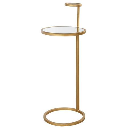 A&B Home Mona Aladham Metal and Glass Tea Side Table
