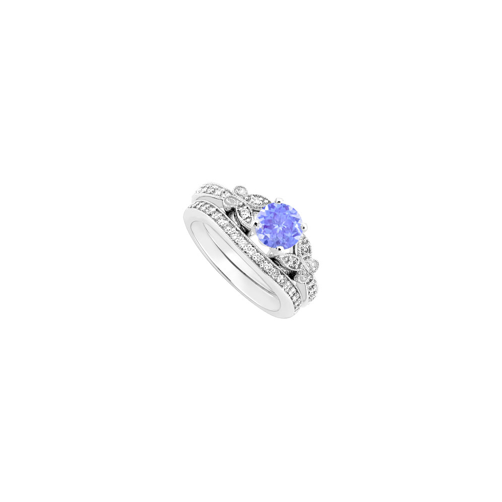 Created Tanzanite and Cubic Zirconia Engagement Ring with Wedding Band Set 14K White Gold 1.00 C by Love Bright