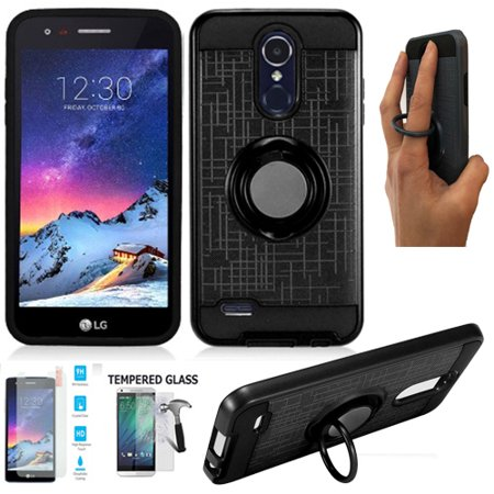 Phone Case for LG Aristo 3 / LG Tribute Empire Case, Tempered Glass +  ShockProof Dual-Layered Cover Ring-Stand (Ring-Stand Black / Tempered Glass)