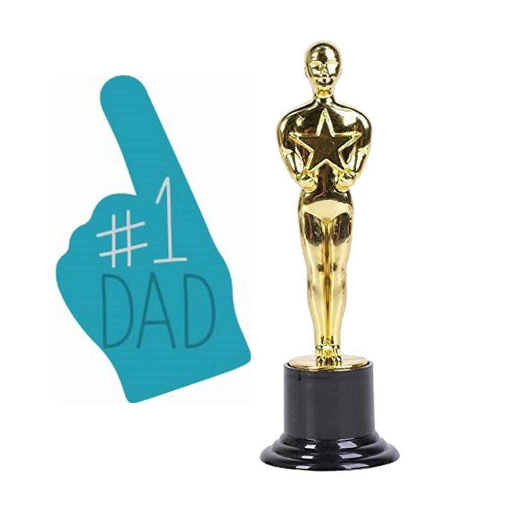 Happy Fathers Day #1 Dad Trophy Special Parent Love Award Gift Novelty
