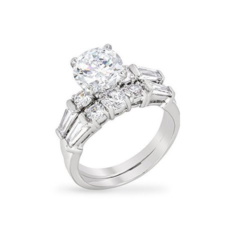 Rhodium Plated Engagement Ring Set with Round Cut CZ and Shouldered Baguettes Prong Set Size 10 Channel Set Baguette Engagement Ring