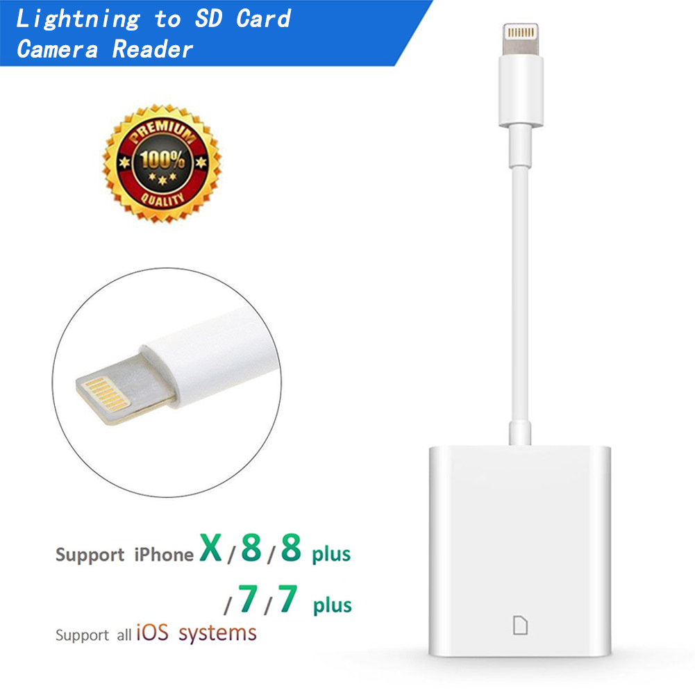 SD Card Reader, Lightning Adapter for iPhone (Support iOS 11.2.6 and Before), Trail Game Camera Viewer for iPhone X/8 Plus/8/7 Plus/7/6s Plus/6s/6 Plus/6/5 iPad Mini/Air, No App Required, [Upgraded]