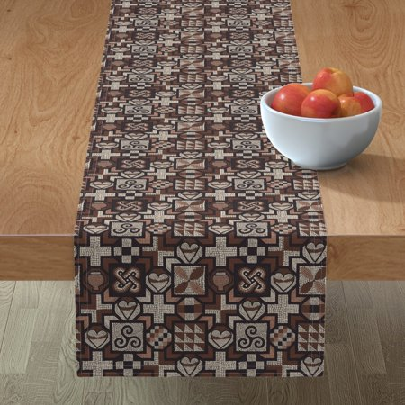 Image of Table Runner Mosaic Tiles Ancient Roman History Religious Hearts Cotton Sateen
