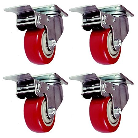 4 Pack 5 Inch Caster Wheels Swivel Plate with Brake on Red Polyurethane Heavy Duty Wheels