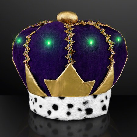 Light Up Hat (FlashingBlinkyLights Light Up Mardi Gras King Crown)