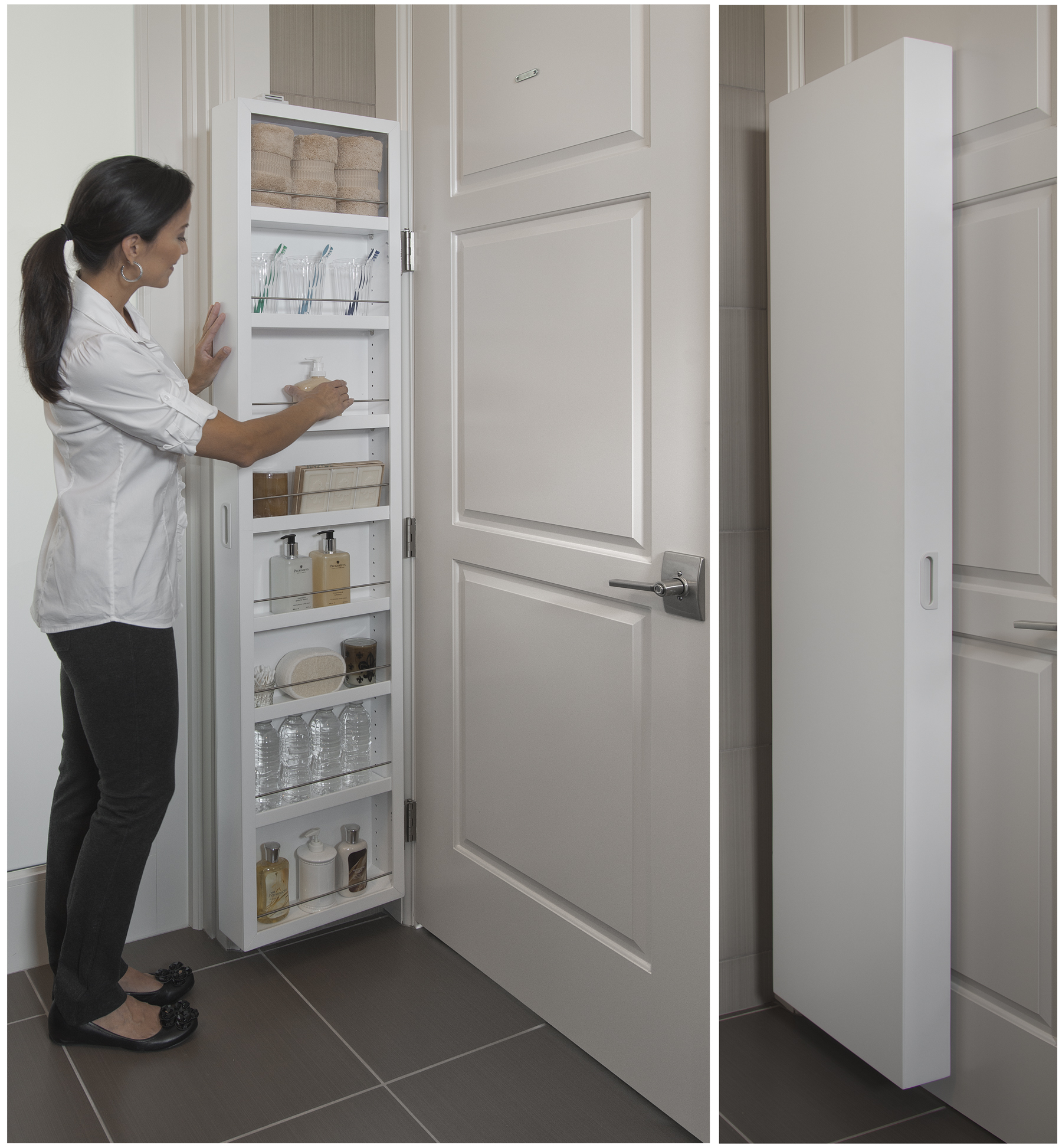 Cabidor Classic Behind The Door Concealed Storage Cabinet, White