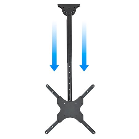 Mount Factory Universal Tilt and Swivel Ceiling TV Mount Bracket with Adjustable Pole Height fits most 26