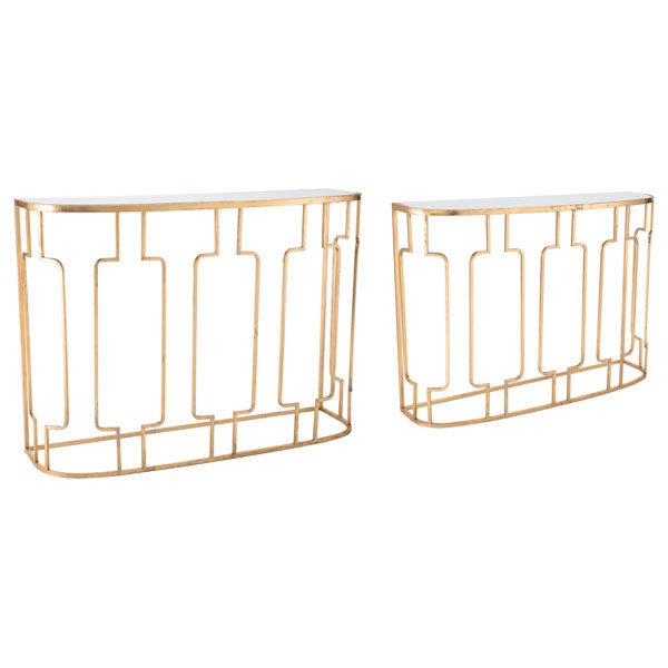 HomeRoots Decor,Set Of 2 Console Tables Gold