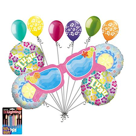 11 pc Summer Sunglasses Balloon Bouquet Decoration Happy Birthday Luau Beach - Beach Birthday Decorations
