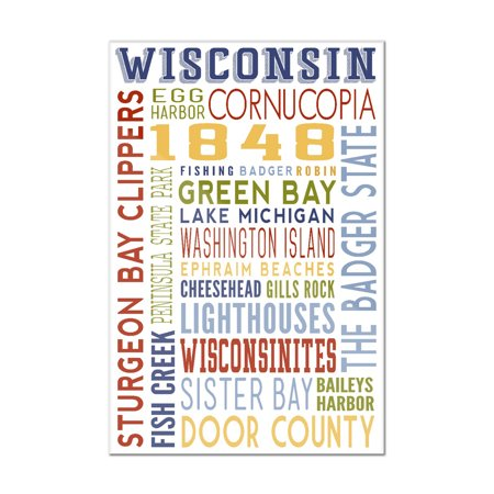 Cornucopia Figurine (Cornucopia, Wisconsin - Typography - Lantern Press Artwork (8x12 Acrylic Wall Sign))