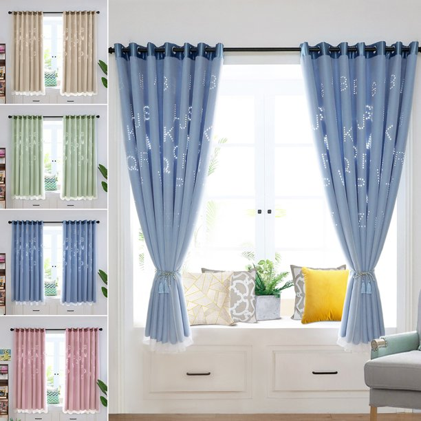 Letter Blackout Window Curtains Mesh, Boys Room Curtains