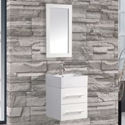 MTD Vanities Nepal 18'' Single Sink Wall Mounted Bathroom Vanity Set with Mirror