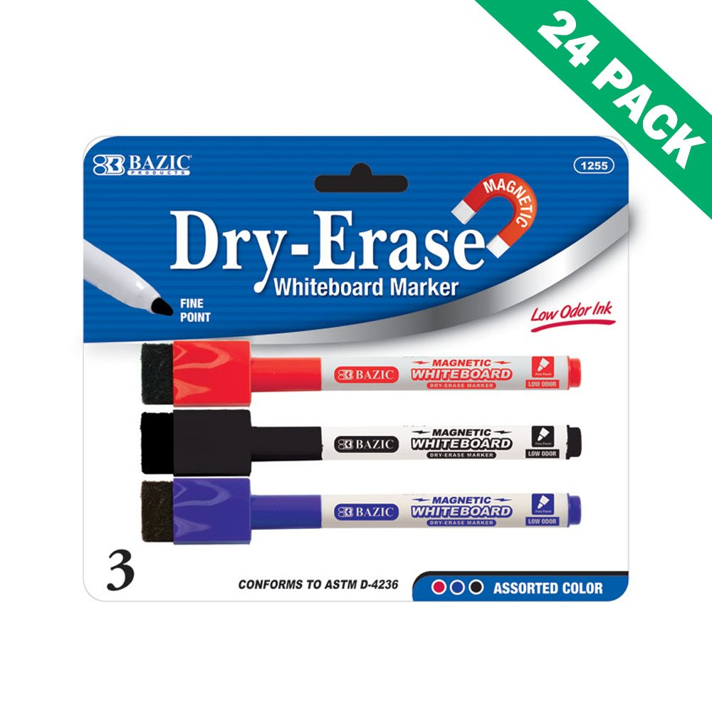 Dry Erase Whiteboard Markers, Bazic Dry Erase Marker Fine Point - 24 Pack